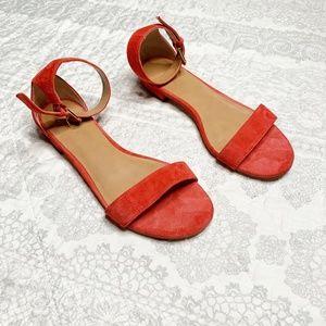 J. Crew Hadley Suede Warm Cerise Sandals Size 7
